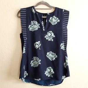 J crew blue floral striped blouse size 6 navy